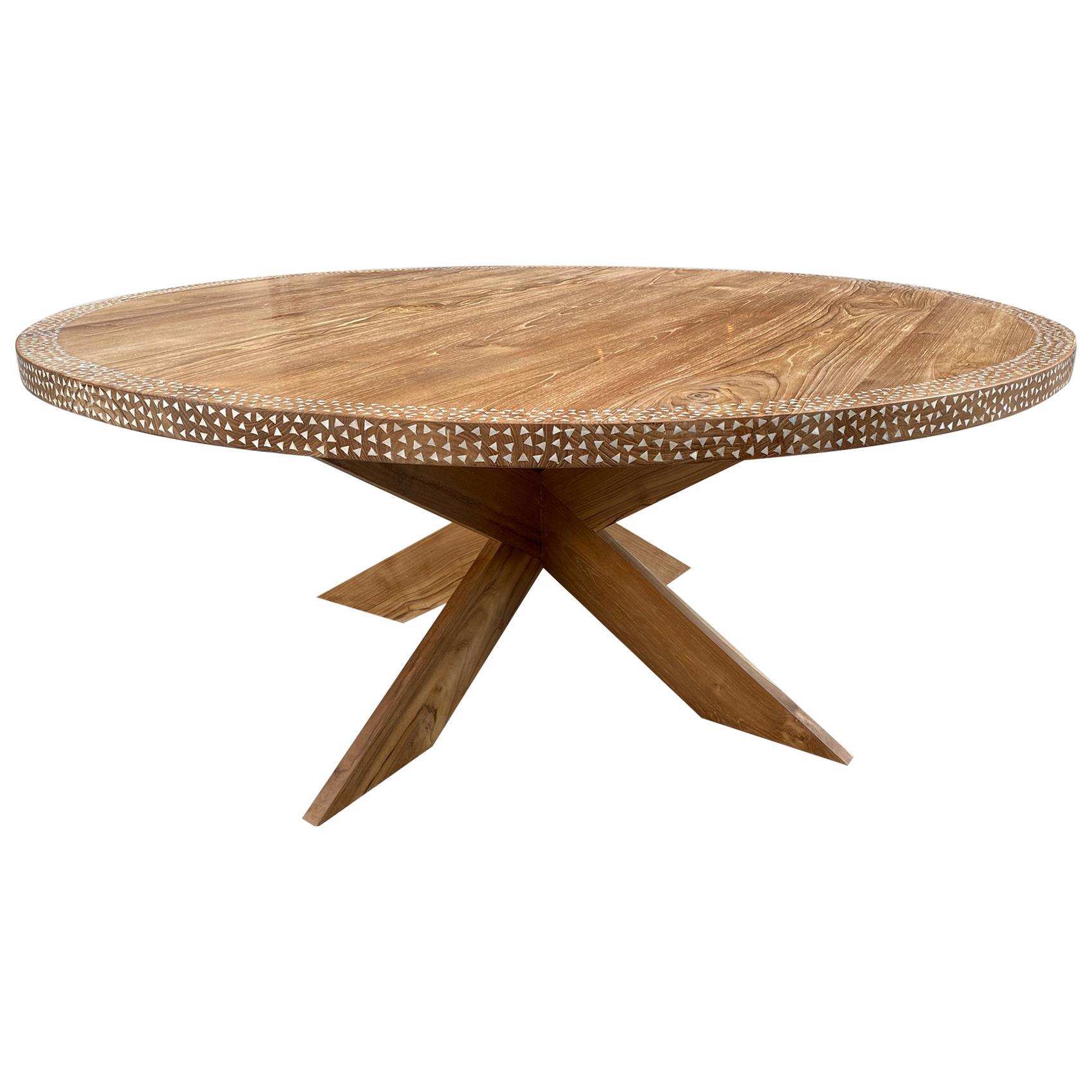 Andrianna Shamaris Round Shell Inlaid Teak Wood Dining Table