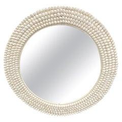 Andrianna Shamaris Round White Shell Mirror