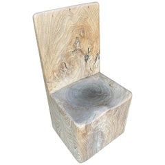 Andrianna Shamaris Sculptural Solid Teak Wood Chair