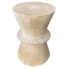 Andrianna Shamaris Shell and Teak Wood Side Table