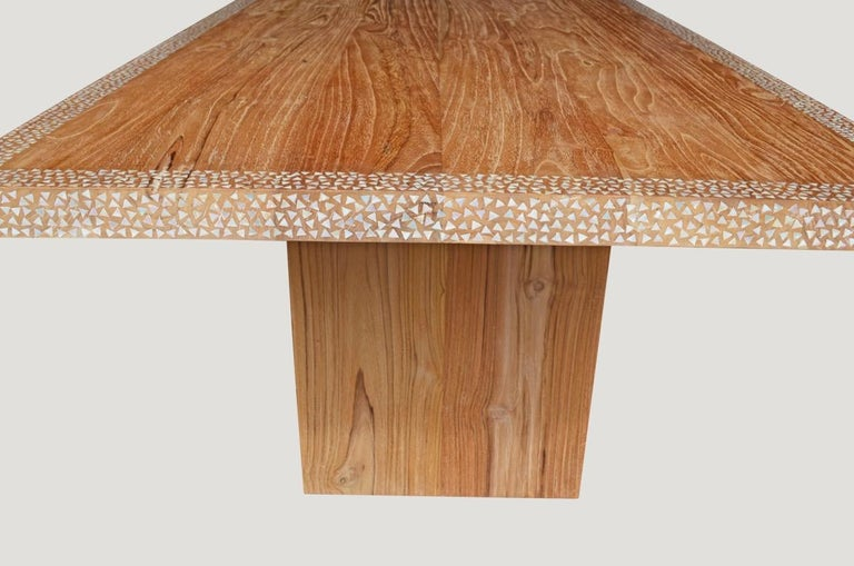 Organic Modern Andrianna Shamaris Shell Inlay Teak Wood Dining Table For Sale