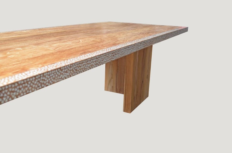 Andrianna Shamaris Shell Inlay Teak Wood Dining Table In Excellent Condition For Sale In New York, NY