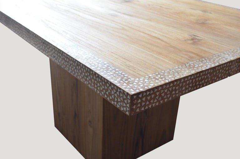 Contemporary Andrianna Shamaris Shell Inlay Teak Wood Dining Table For Sale