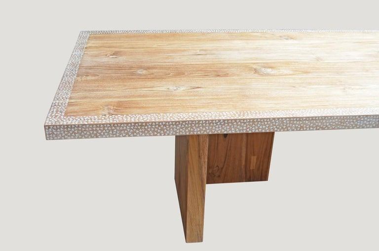 Andrianna Shamaris Shell Inlay Teak Wood Dining Table For Sale 1
