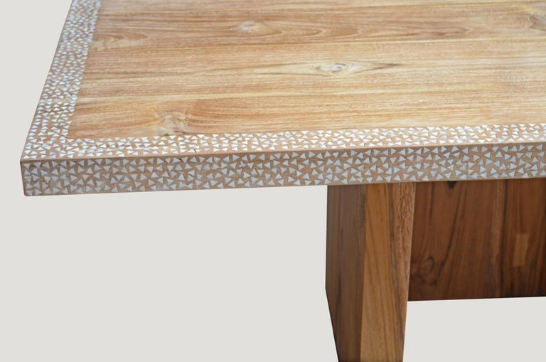 Andrianna Shamaris Shell Inlay Teak Wood Dining Table For Sale 2