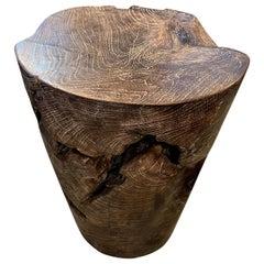 Andrianna Shamaris Single Charred Teak Wood Side Table