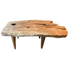 Andrianna Shamaris Single Slab Live Edge Teak Wood Coffee Table