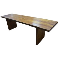 Andrianna Shamaris Single Slab Teak Wood Table
