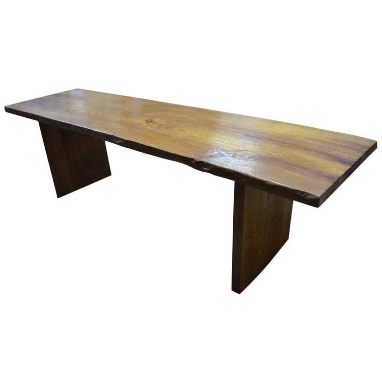 Teak Wood Slab Coffee Table: Andrianna Shamaris Single Slab Teak Wood Table For Sale At