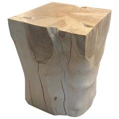 Andrianna Shamaris St. Barts Bleached Teak Wood Side Table