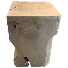 Andrianna Shamaris St. Barts Bleached Teak Wood Side Table