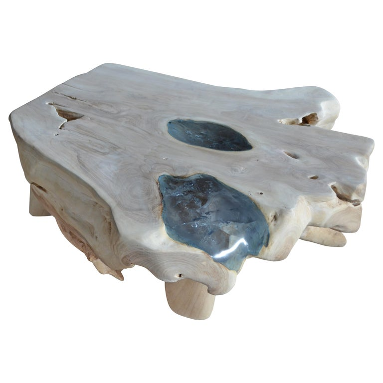 Andrianna Shamaris St. Barts Ice Blue Resin and Teak Wood Coffee Table For Sale
