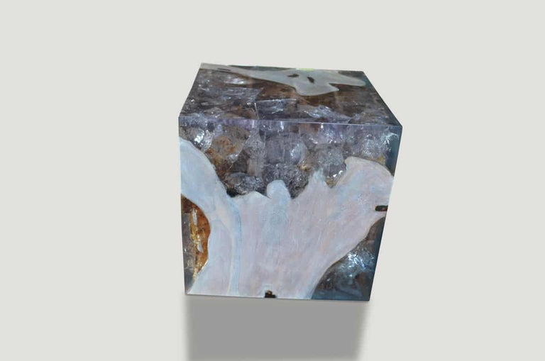 Organic Modern Andrianna Shamaris St. Barts Teak Wood and Resin Side Table For Sale