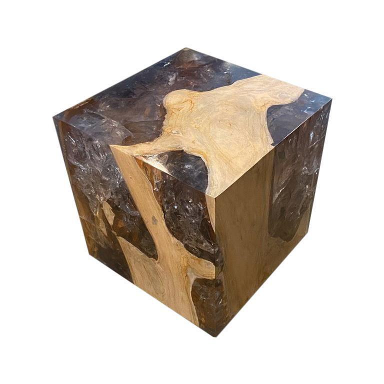 Andrianna Shamaris St. Barts Teak Wood and Resin Side Table