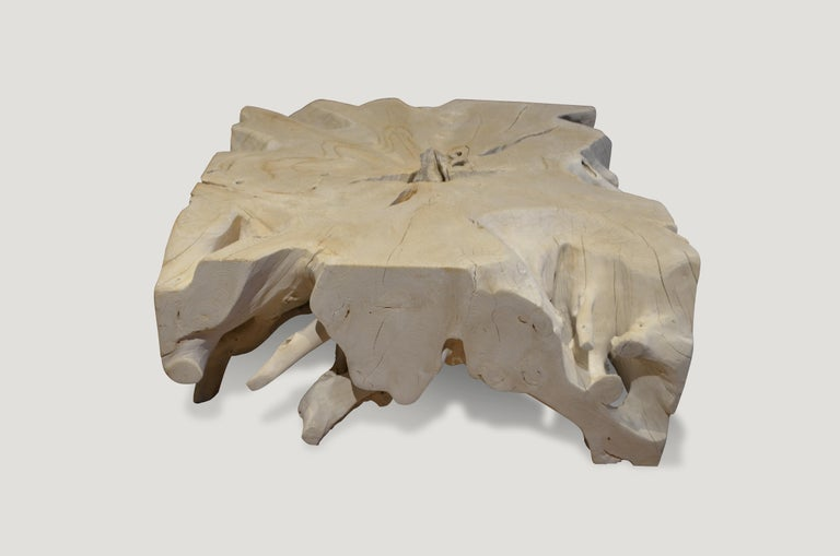 Contemporary Andrianna Shamaris St. Barts Teak Wood Coffee Table For Sale