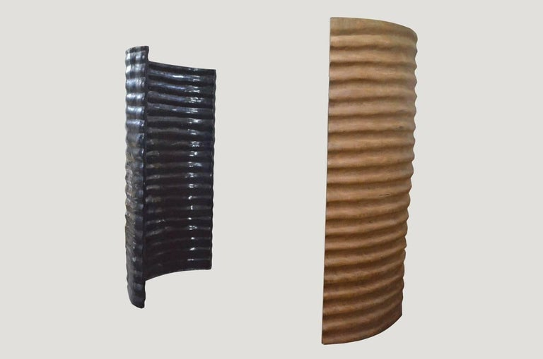 Hand-carved screen sculpted from a hollowed out Sumatra palm tree with incredible width. Great as a room divider or as an outdoor shower partisan. Stained espresso.  Andrianna Shamaris. The Leader In Modern Organic Design™