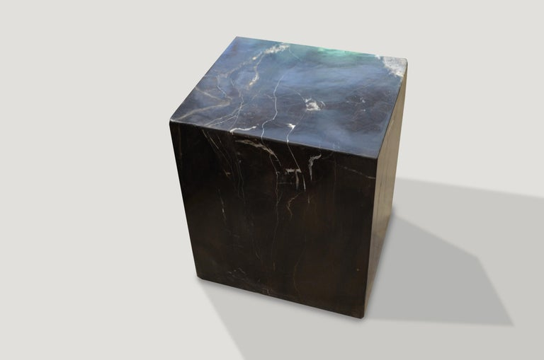 Organic Modern Andrianna Shamaris Super Smooth Petrified Wood Side Table For Sale