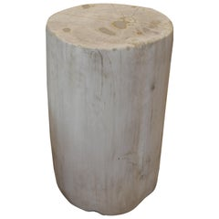 Andrianna Shamaris Super Smooth White and Cream Petrified Wood Side Table
