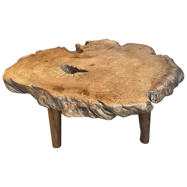 Andrianna Shamaris Teak Burl Wood Live Edge Coffee Table or Side Table For Sale