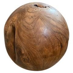 Andrianna Shamaris Teak Wood Organic Sculptural Sphere