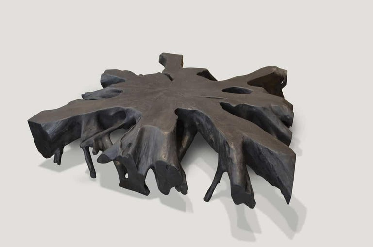 Impressive teak root art to hang on the wall or low Minimalist coffee table. Hand carved from a single 11? thick piece of reclaimed teak wood and burnt to achieve this stunning finish. Organic is the new modern.