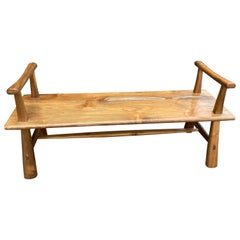 Andrianna Shamaris Teak Wood Single Slab Bench with Arms