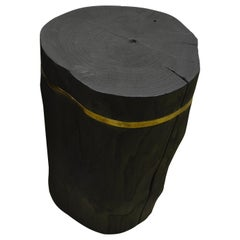 Andrianna Shamaris Triple Burnt Teak Wood Bronze Side Table