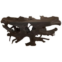 Andrianna Shamaris Triple Burnt Teak Wood Console Table