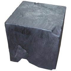 Andrianna Shamaris Triple Burnt Teak Wood Side Table