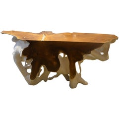 Andrianna Shamaris Two-Toned Organic Teak Wood Console