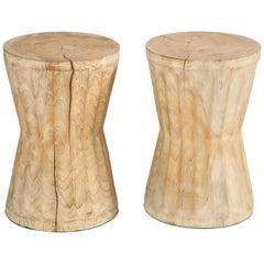 Andrianna Shamaris Wabi Sabi Teak Hourglass Benches or Tables, Pair