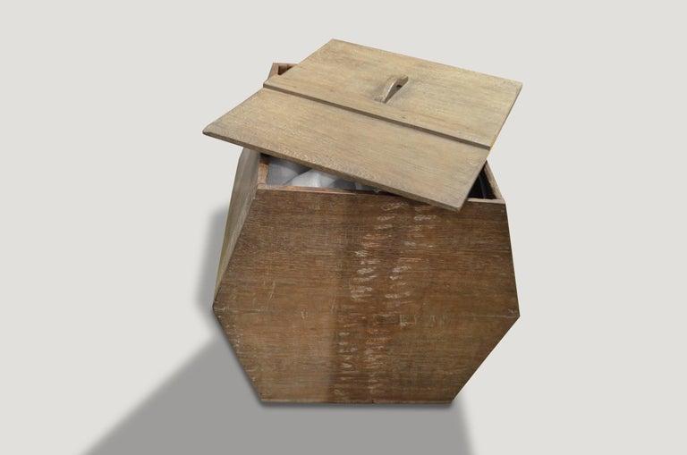 Primitive Andrianna Shamaris Wabi-Sabi Teak Wood Container For Sale