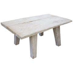 Andrianna Shamaris White Washed Teak Wood Side Table or Bench