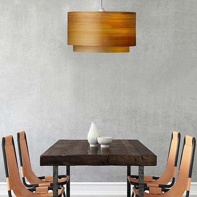 Mid-Century Modern ANDRO Custom Cypress Wood Double Drum Chandelier Pendant For Sale