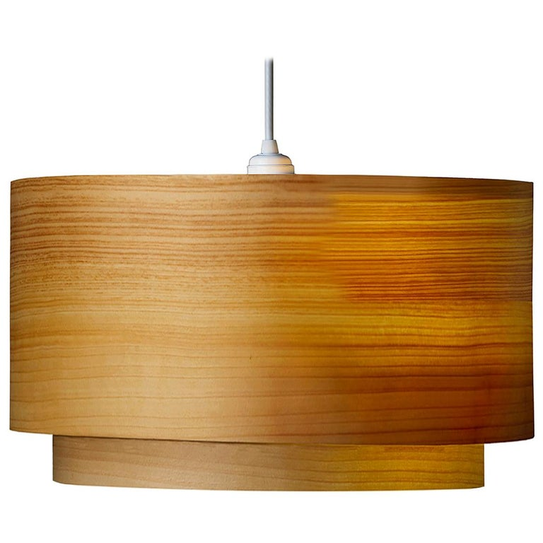 ANDRO Custom Cypress Wood Double Drum Chandelier Pendant For Sale