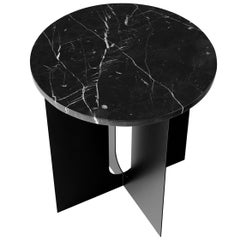 Androgyne Side Table, Steel Base in Black, Tabletop in Black Marble
