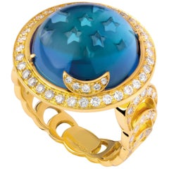Andromeda Ring, Blue Topaz, White Diamonds, 18 Karat Yellow Gold