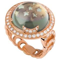 Andromeda Ring, Prasiolite, White Diamonds, 18 Karat Rose Gold