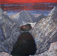A Lake in the Mountains- XXI Century, Contemporary Mountains Acrylic Painting