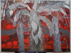 A Red Island- XXI Century, Contemporary Flora Acrylic Painting