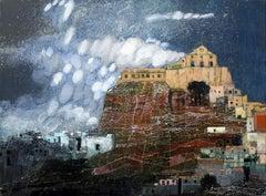 Ano Syra - XXI Century, Landscape, Contemporary Acrylic And Mixed Media Painting