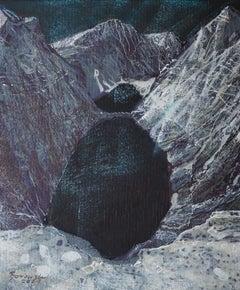 Black Lake- XXI Century, Contemporary Mountains Acrylic Painting