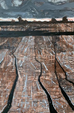 Black streams - XXI Century, Contemporary Painting, Landscape, Earth tones
