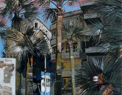 Cannes - Palm Trees - XXI Century, Contemporary Landscape Acrylic Painting