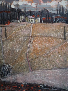 Certaldo- XXI Century, Contemporary Landscape Acrylic Painting
