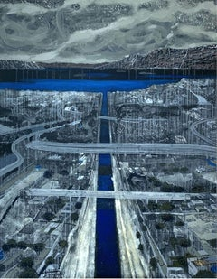 Corinthial canal - XXI Century, Contemporary Painting, Landscape , Blue & grey