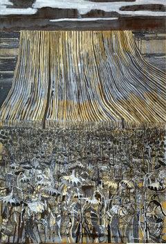 Dusk - XXI Century, Contemporary Painting, Landscape, Earth tones, Sunflowers