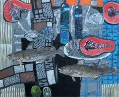 Fish and papayas - XXI century, Still life, Acrylics and mixed media painting