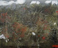 Hawthorns- XXI Century, Contemporary Flora Abstract Acrylic Painting