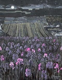 Irises - XXI Century Contemporary Acrylic Painting Landscape, Flowers